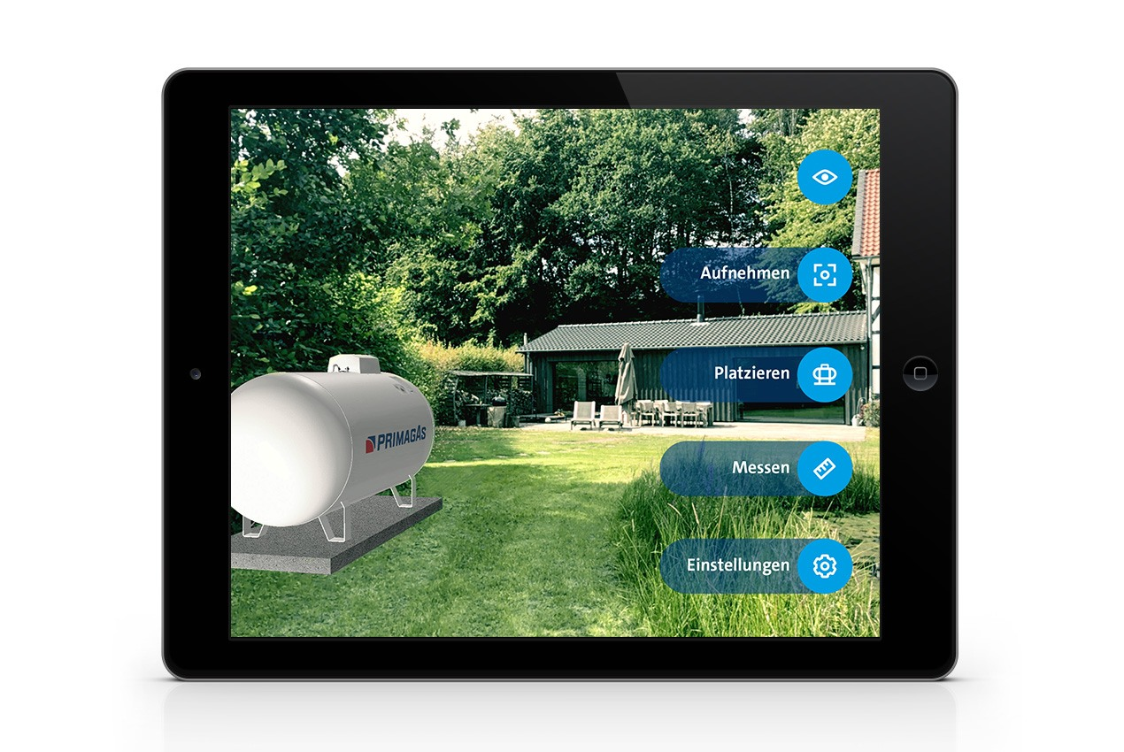 PRIMAGAS AR-App,  Augmented reality App, Platzierung oberirdischer Tank
