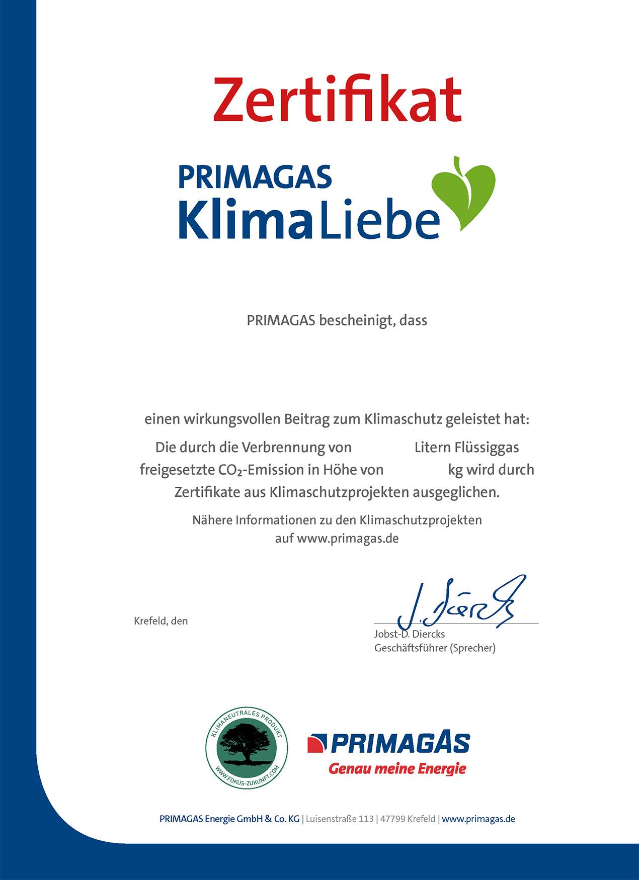PRIMAGAS KlimaLiebe - Zertifikat Flüssiggas