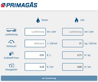PRIMAGAS Pressemitteilung - LNG-Rechner
